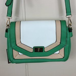 Green Color Block Dual Compartment Shoulder Bag